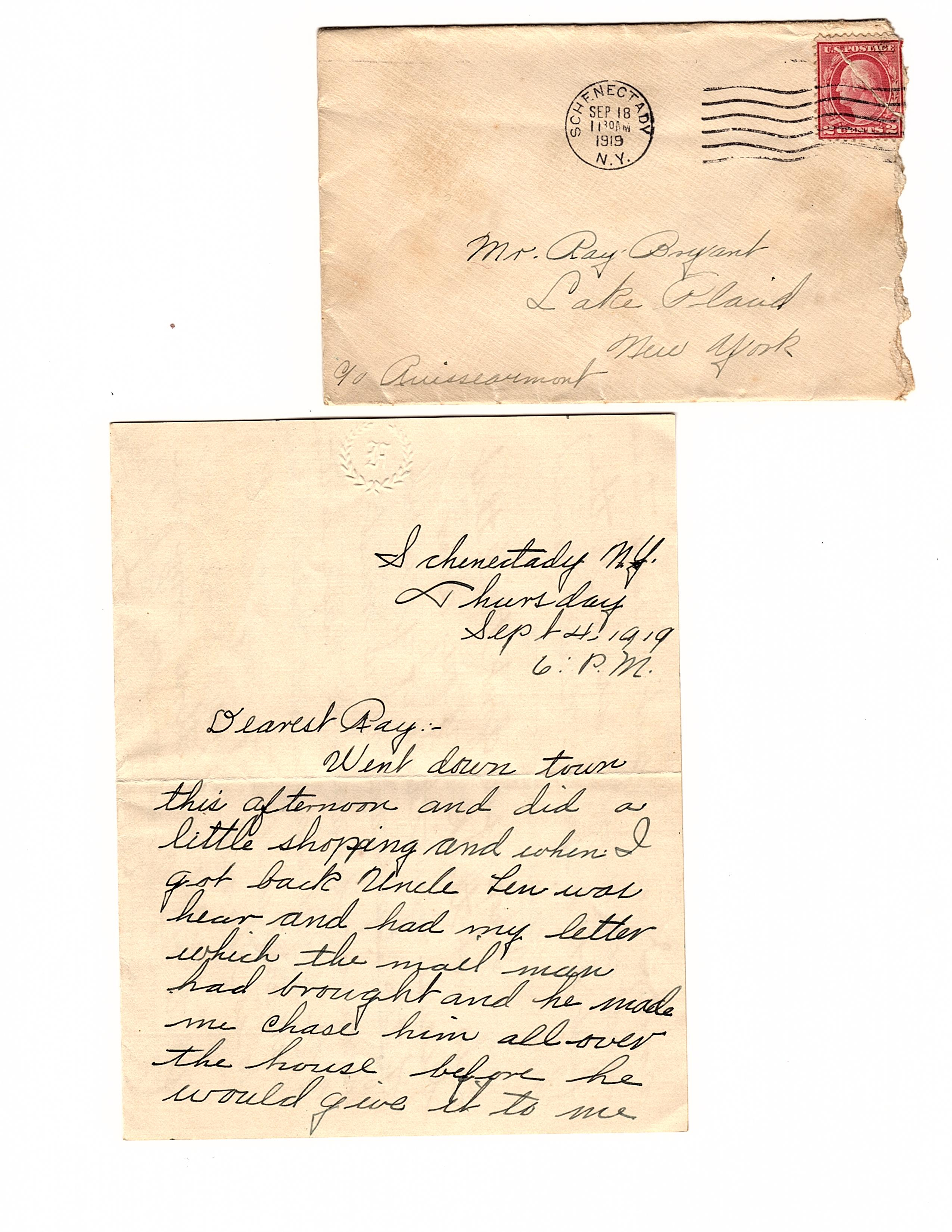 Lake Placid Love Letters c  1918-1920: The Correspondence of